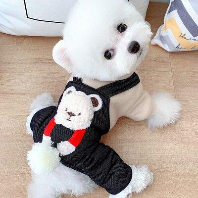抱抱熊加厚寵物四腳衣泰迪小狗狗博美雪納瑞比熊衣服秋冬裝小型犬『J9607』