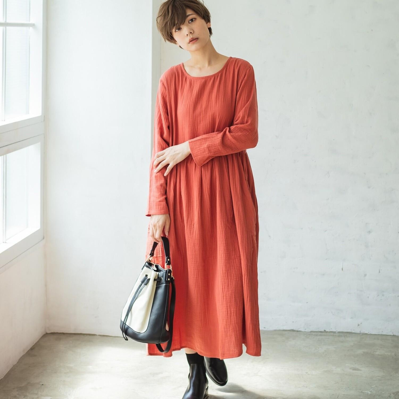 日本 PAIRMANON - 二重紗純棉長袖洋裝(媽媽)-磚紅 (FREE)