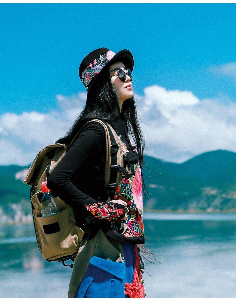 春夏秋冬四季百搭女士帽子民族風文藝復古繡花帽旅游度假平頂女帽1入