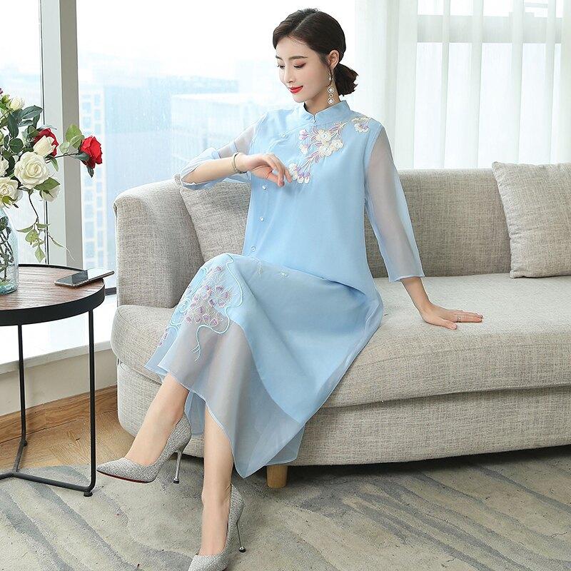 中國風改良旗袍夏裝新款復古仙女裙刺繡民族風連衣裙修身顯瘦1入