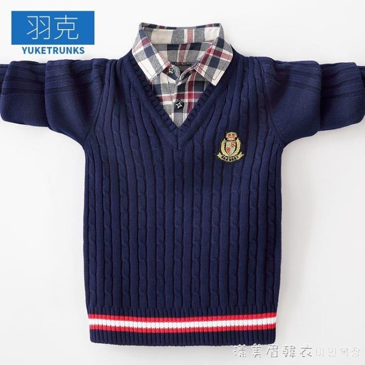 男童毛衣兒童假兩件針織衫男孩中大童秋冬款套頭保暖打底衫棉線衣