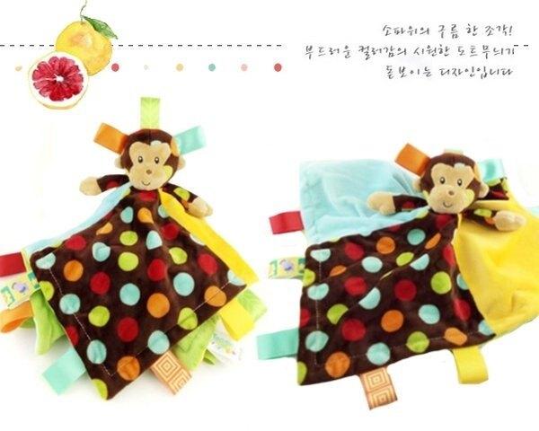 炫點猴子彩色標籤響鈴寶寶安撫巾 口水巾