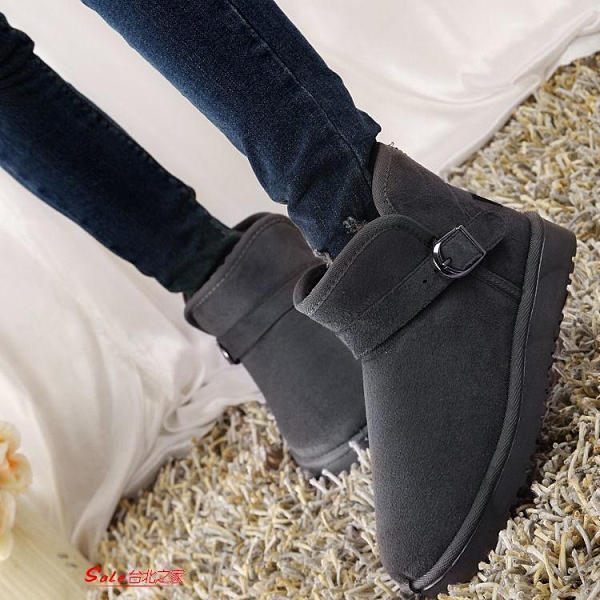 低筒靴 韓版搭扣低筒雪地靴女短靴子冬加絨厚底加絨平底棉鞋面包鞋女
