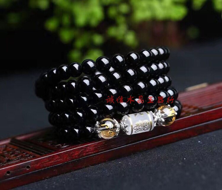 天然黑瑪瑙8毫米多圈手鏈配八大守護神桶珠手鏈1入