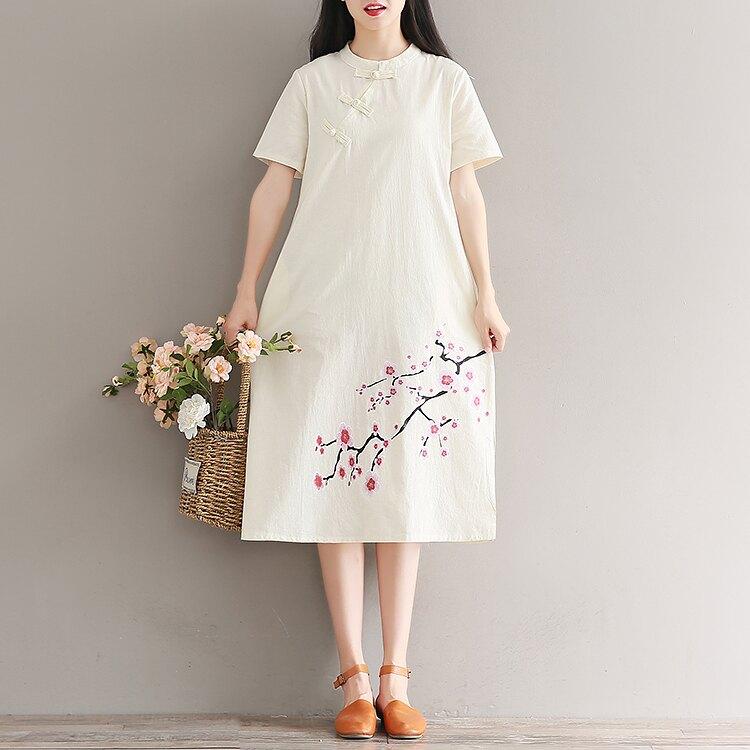 2019夏季中國風女裝民族風復古盤扣旗袍短袖印花棉麻連衣裙少女1入