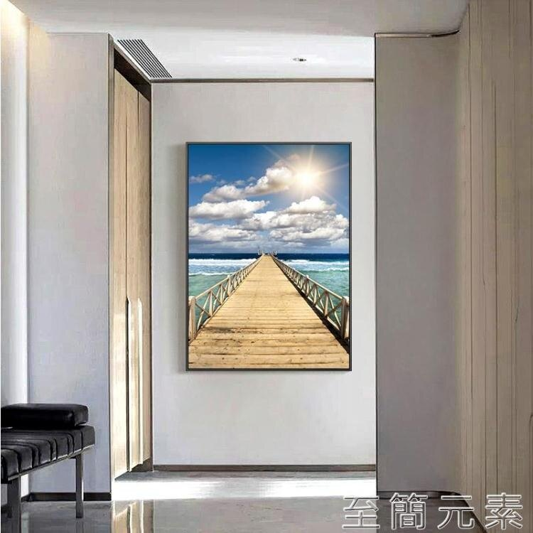 玄關畫 入戶玄關裝飾畫豎版現代簡約掛畫過道走廊盡頭壁畫玄幻入門客廳畫
