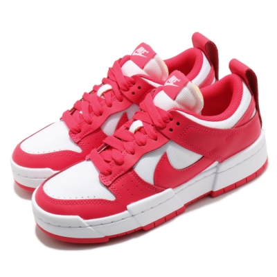 Nike 休閒鞋 Dunk Low Disrupt 運動 女鞋 基本款 解構 簡約 皮革 穿搭 球鞋 紅 白 CK6654601