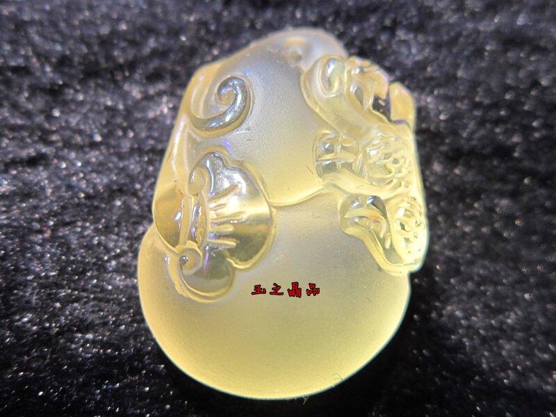 天然黃水晶吊墜葫蘆貔貅 天然水晶吊墜福祿飾品1入