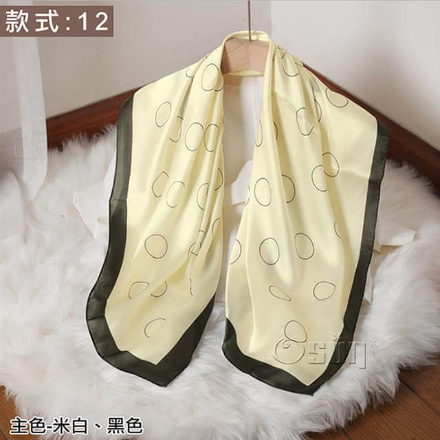 【Osun】韓版高檔送禮大方巾仿蠶絲綢緞質感絲巾印花披肩圍巾(款式:12,CE374)