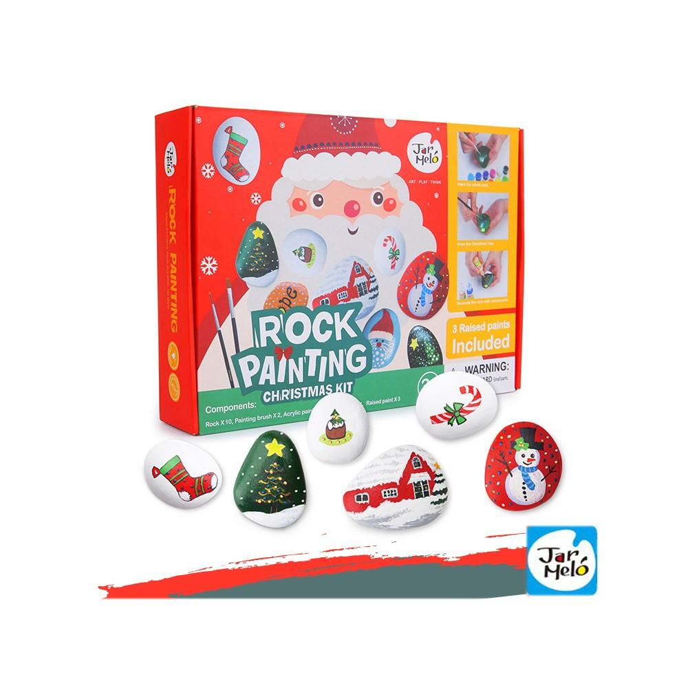 【西班牙JoanMiro 原創美玩】兒童創意繪畫-石頭彩繪聖誕款