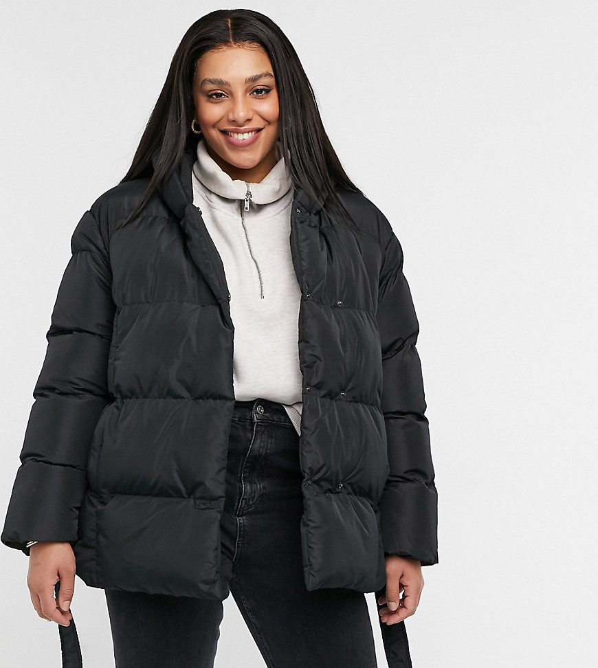 Threadbare Curve stanley oversized padded jacket with hood and tie waist-Black