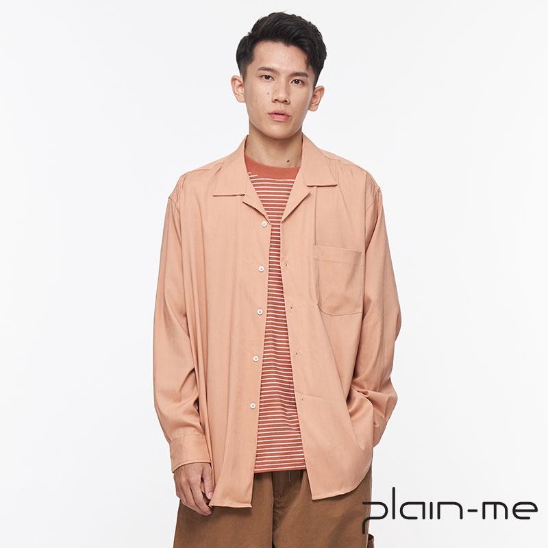 【plain-me】微瑕好物 天絲混紡開領OVERSIZED襯衫(粉/M) BCOP3390