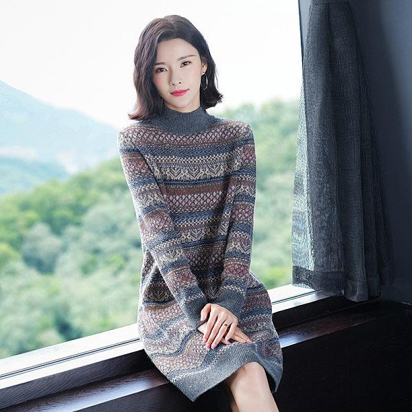 長款毛衣女士中長款打底衫新款冬季新年針織連身裙過膝秋冬A1122 TBF-19A 韓依紡
