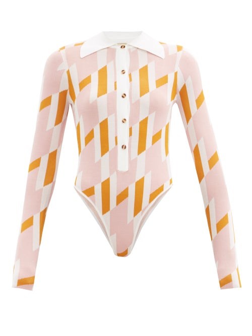 Dodo Bar Or - Carina Geometric-print Bodysuit - Womens - Pink Multi