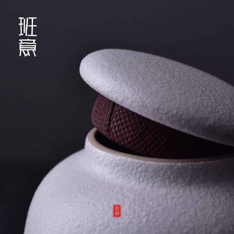 茶葉罐 粗陶陶瓷復古密封罐大小號 家用儲物罐收納 普洱包裝罐子1入