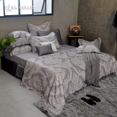 法國CASA BELLE 梵帝亞 加大天絲刺繡防蹣抗菌吸濕排汗兩用被床包組