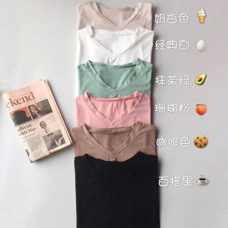 夏季2019新款韓版V領純色基礎款短袖T恤女學院風百搭寬松顯瘦上衣1入