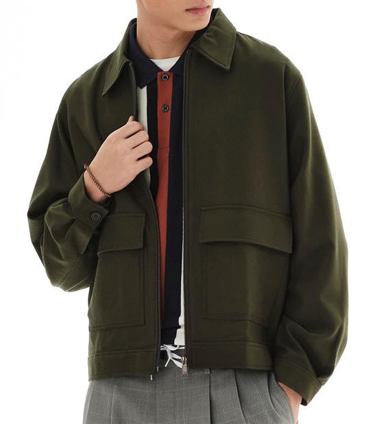 COP1192-毛料大口袋外套