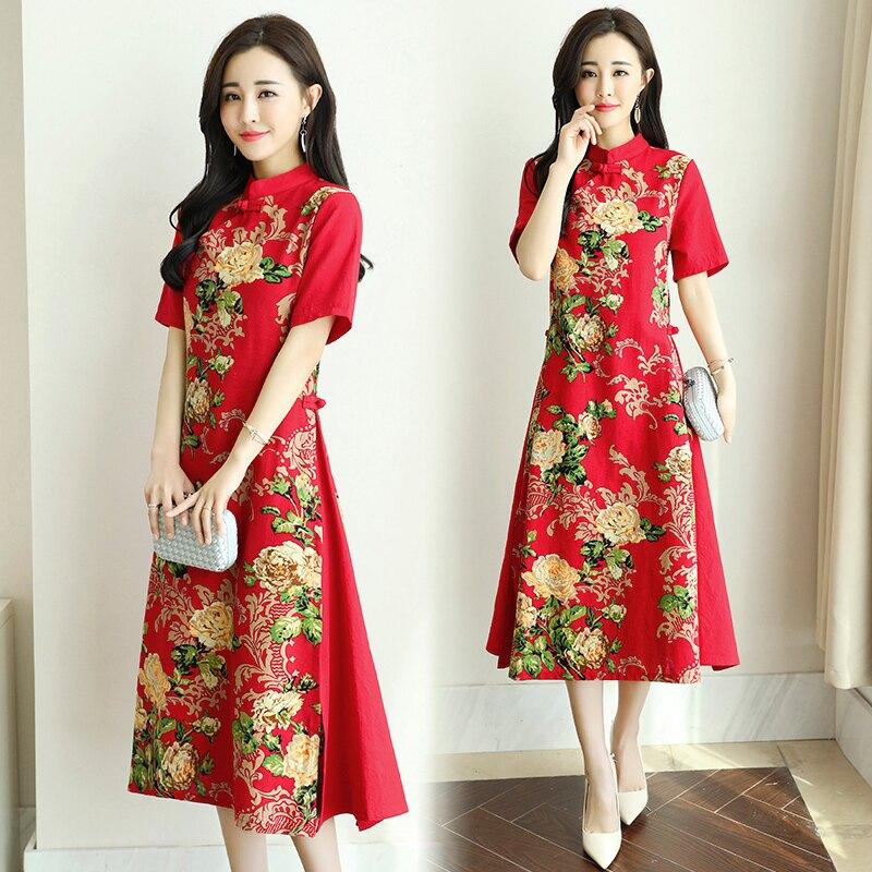 夏裝新款民族風中國風復古改良旗袍棉麻女裝短袖連衣裙茶服1入