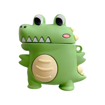 AirPods 1/2 代通用 可愛 大眼鱷魚 造型 藍牙 耳機 矽膠 造型 保護套-AirPods 1/2大眼鱷魚*1