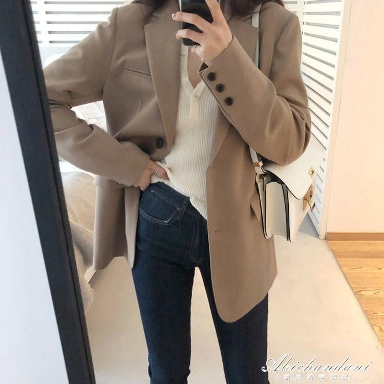 西裝外套女短款韓版英倫風秋季黑色設計感小眾小個子寬鬆休閒西服 時尚學院