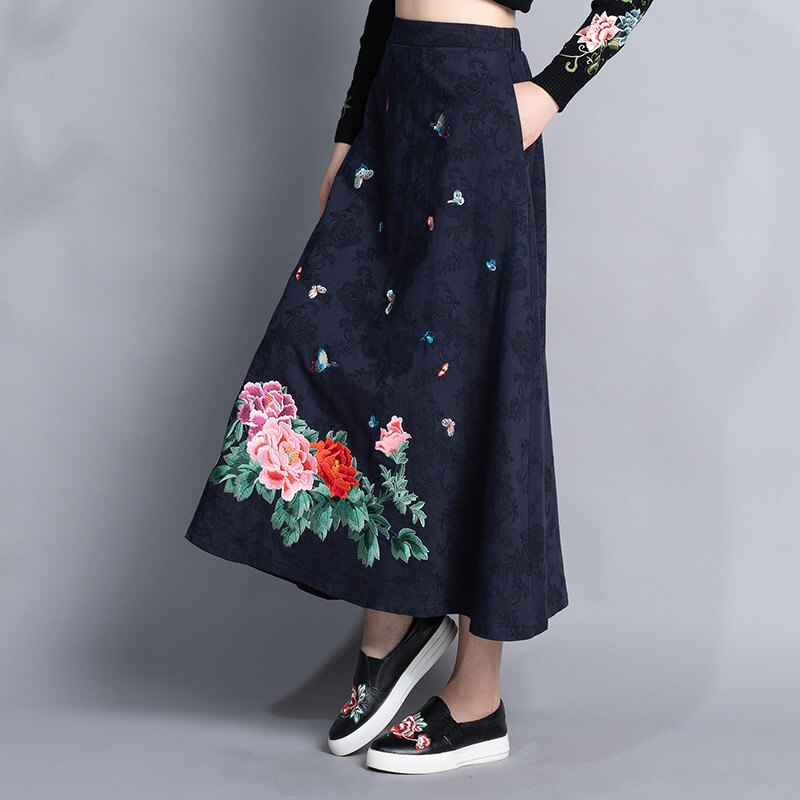 秋冬女裝新款民族風復古刺繡松緊腰長款棉麻提花半身裙亞麻裙1入