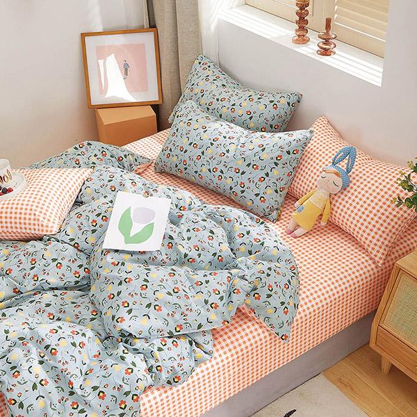 床包被套組(鋪棉兩用被套)-雙人加大 / 精梳純棉四件式 / 凝霜花畔 台灣製