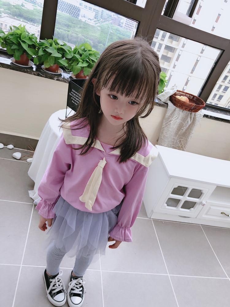 2019春秋季童裝 女童寶寶套頭T恤 中小童兒童海軍風打底衫上衣 潮1入