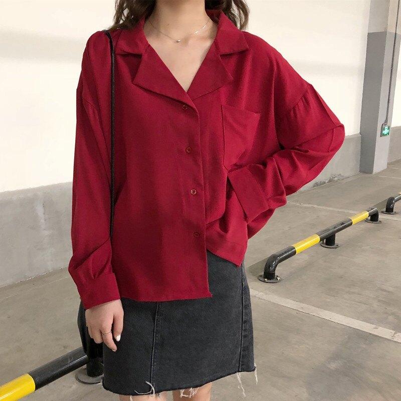 2019春季韓版新款百搭西裝V領長袖襯衫女寬松顯瘦襯衣上衣學生潮1入