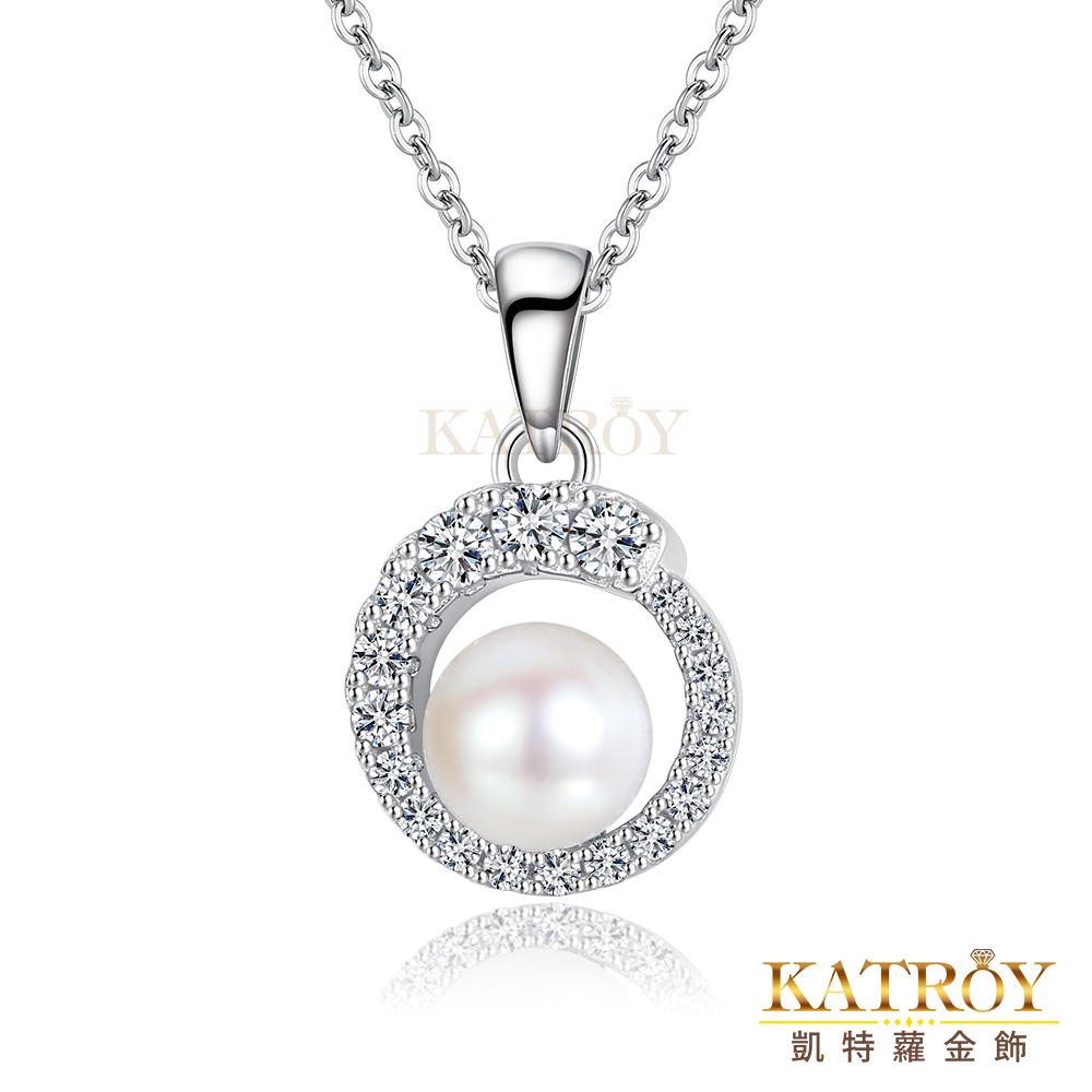 KATROY  天然珍珠項鍊 925純銀 4.5 - 5.0 mm 正圓頂然白珍珠 圓滿 專屬刻字 PG9020