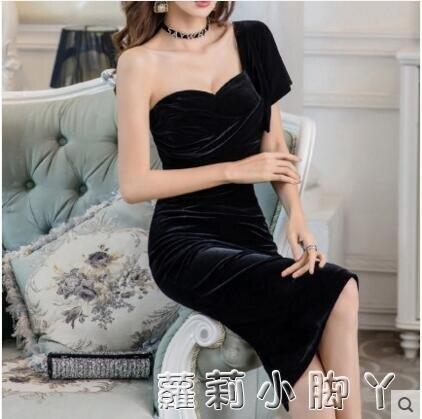 2020新款黑色洋裝燈芯絨女單肩性感禮服中長款抹胸晚宴修身包臀 時尚學院