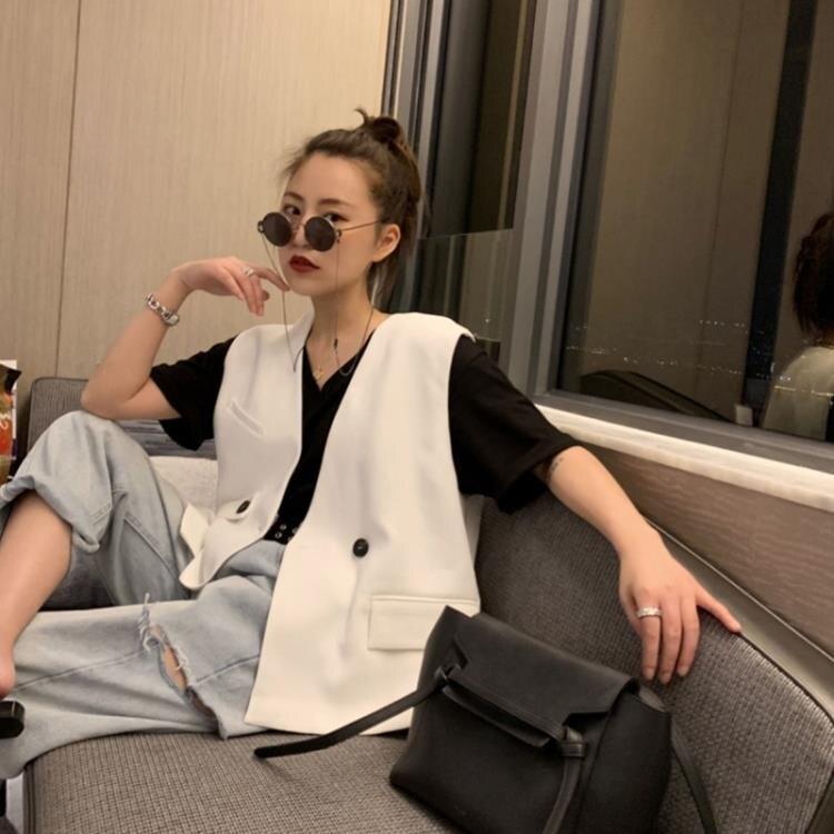 黑色不規則西裝馬甲女短款春秋韓版寬鬆休閒時尚西服馬夾坎肩外套