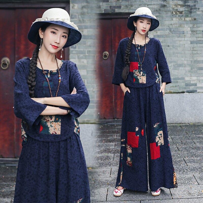春季新款民族風大碼女裝寬松棉麻襯衫闊腿褲女士休閑兩件套裝1入