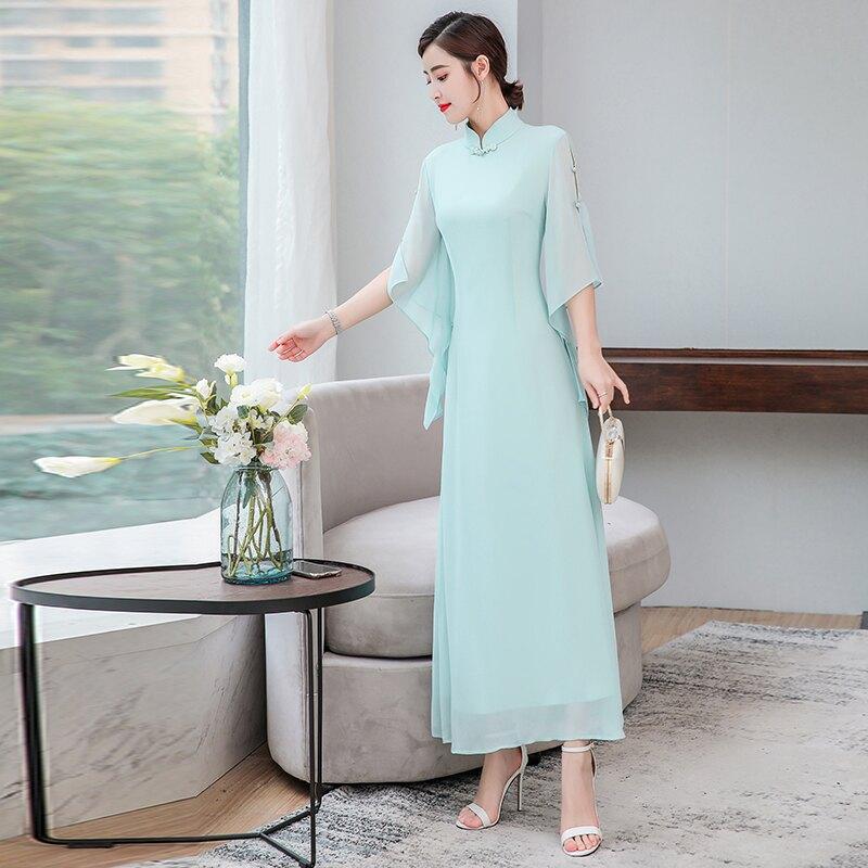 夏裝新款中國風禪意改良中式立領旗袍盤扣仙女修身長款連衣裙1入