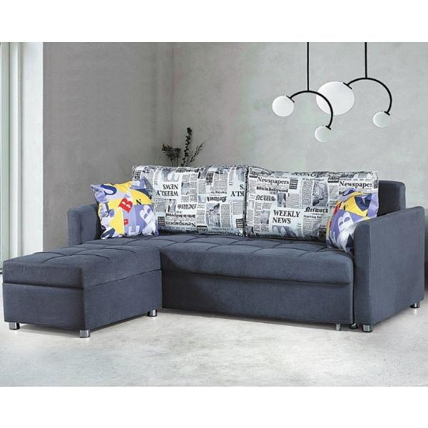 沙發 L型布沙發 PK-280-1 波士尼亞沙發床(三人+腳椅)(深灰布)【大眾家居舘】