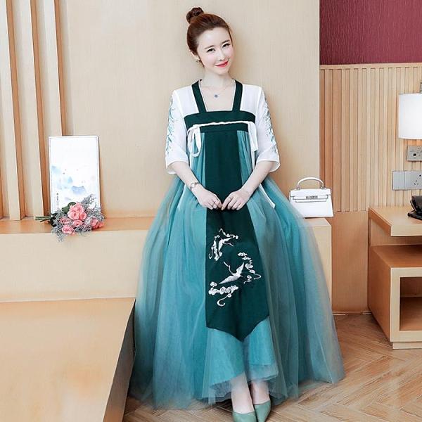 2021夏新款大碼胖MM 復古中國風刺繡襦裙漢服長裙