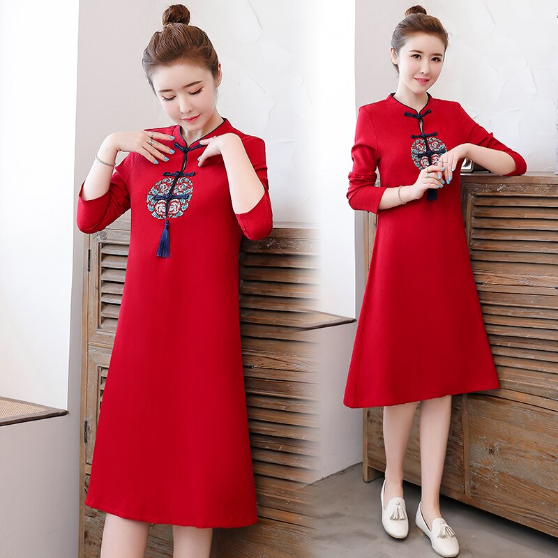 春季新款中國風女裝復古民族風棉麻刺繡改良旗袍中式連衣裙1入