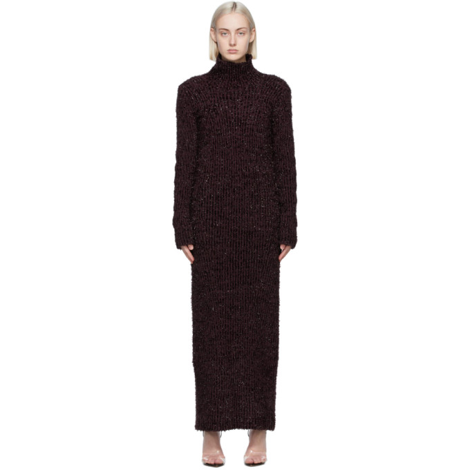 Helmut Lang 紫色罗纹高领连衣裙