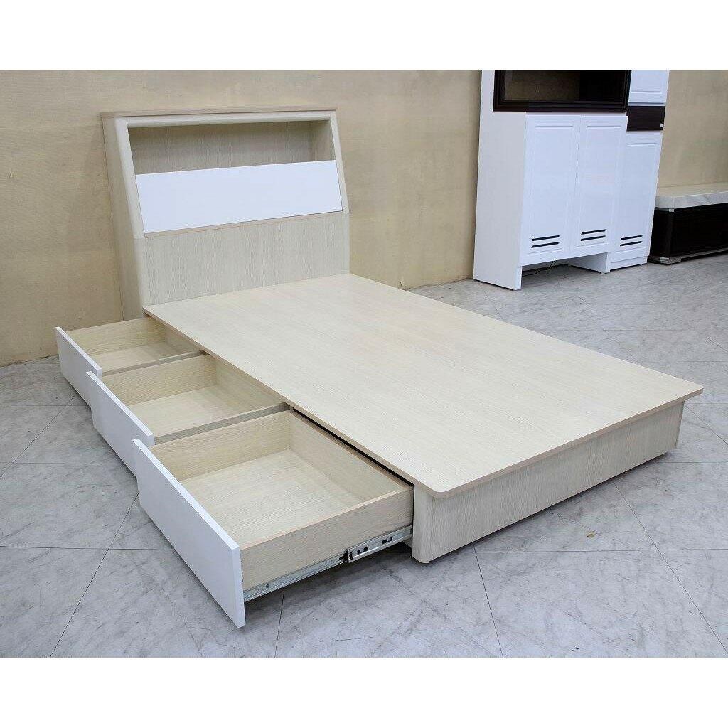 【歐風別館】桂格洗白色3.5尺單人床頭箱+抽屜床底【基隆至台中免運費】