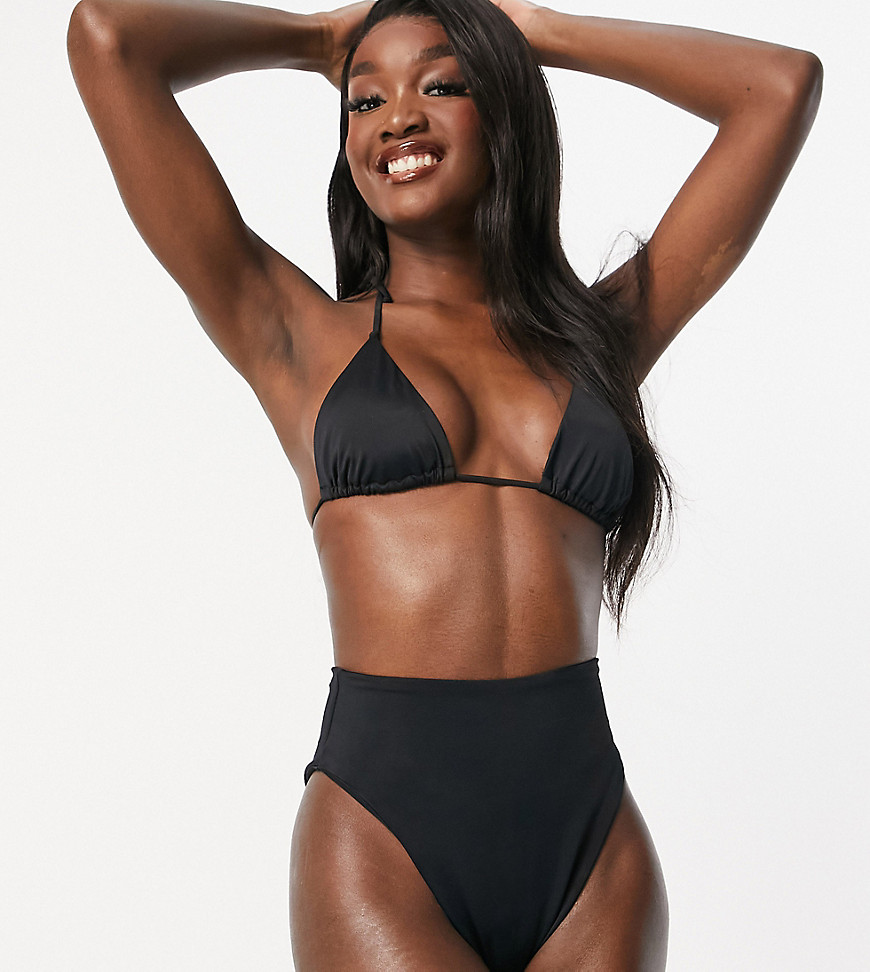 ASOS DESIGN tall recycled mix and match high leg high waist bikini bottom in black