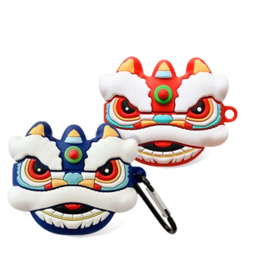 AirPods Pro 可愛 喜氣 舞狮 造型 藍牙 耳機 矽膠 造型 保護套 红色舞狮-AirPods Pro红色舞狮*1