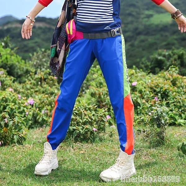 登山褲 戶外拼色速干褲女長褲小腳褲彈力運動褲彈力快干褲女徒步登山夏季 星河光年