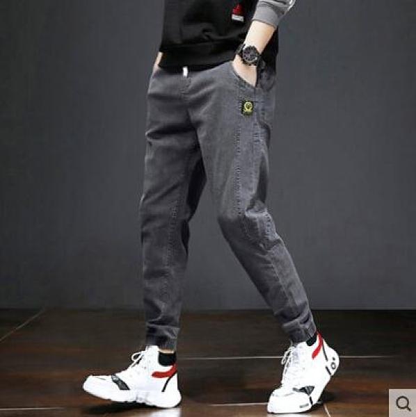 冬季九分牛仔褲男士韓版修身彈力加絨