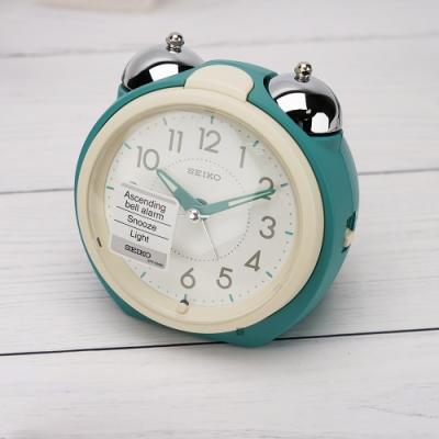 SEIKO 精工 Q版大聲公靜音秒針貪睡鬧鐘(QHK054M)-卡比綠