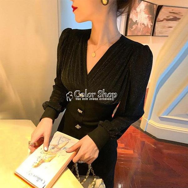 裙子新款2021年性感v領黑色洋裝女法式復古顯瘦赫本風小黑裙子 SUPER SALE 交換禮物