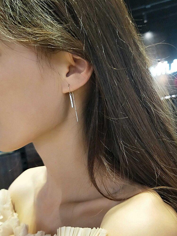 耳線韓國2019新款潮個性簡約流蘇耳飾女超仙氣質網紅耳墜純銀耳釘1入