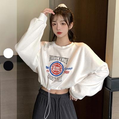 韓版籃球字母抽繩短款衛衣【007297BAAB】