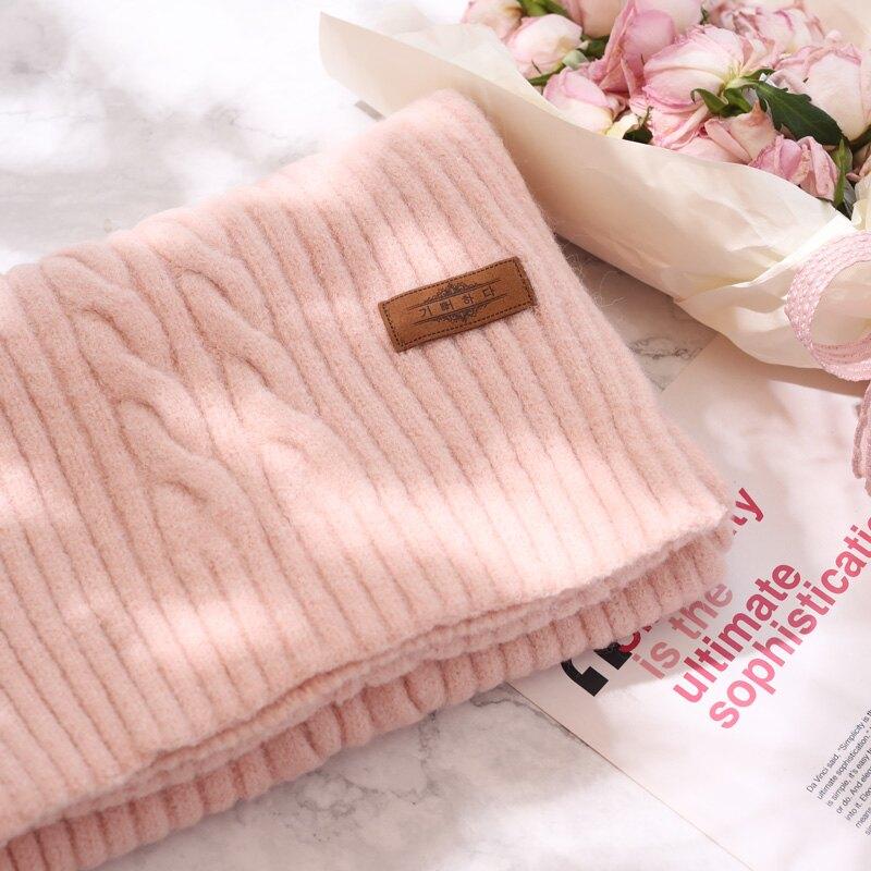 冬天純色毛線針織粉色圍巾女秋冬加厚保暖冬季圍脖韓版百搭日系潮1入