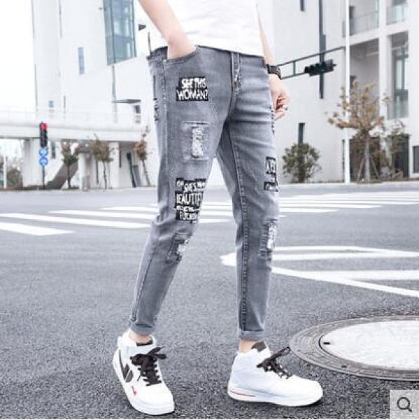 冬季加絨九分牛仔褲男士韓版修身加厚小腳褲