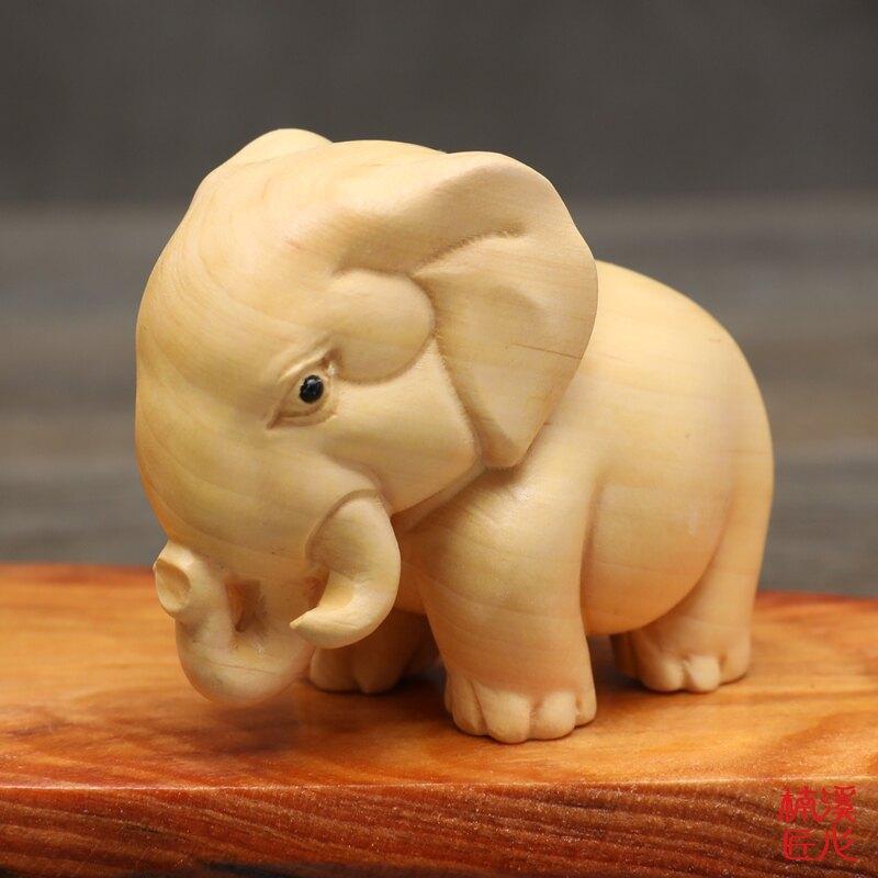 楠溪匠心黃楊木雕手把件文玩家居動物小擺件犀牛大象河馬非洲三寶1入